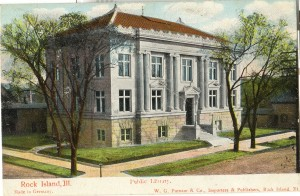 Colored Postcard of Library