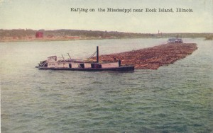 Postcard of Log Raft with Bowboat in Foreground